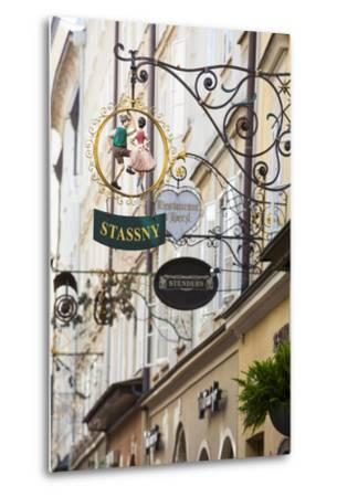 Ornate Shop Signs on Getreidegasse, Salzburgs Bustling Shopping Street, Salzburg