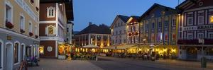 Restaurants in Market Square Illuminated at Dusk, Mondsee, Mondsee Lake by Doug Pearson
