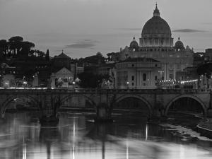St Peter's Basilica and Ponte Saint Angelo, Rome, Italy by Doug Pearson