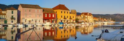 Stari Grad (Old Town) Refelcted in Harbour, Stari Grad, Dalmatia, Croatia by Doug Pearson
