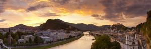 Sunrise over Hohensalzburg Fortressover and Alt Stadt, Salzburg, Salzburger Land, Austria by Doug Pearson