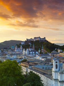 Sunrise over Hohensalzburg Fortressover and Alt Stadt, Salzburg, Salzkammergut, Austria by Doug Pearson