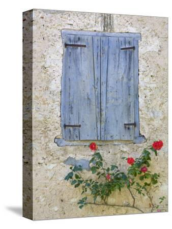 Window Shutters and Roses, Roquefixade, Ariege, Midi-Pyrenees, France