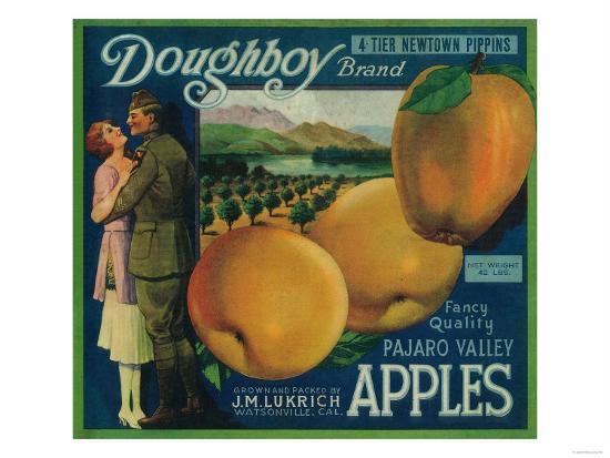 Doughboy Apple Crate Label - Watsonville, CA-Lantern Press-Art Print
