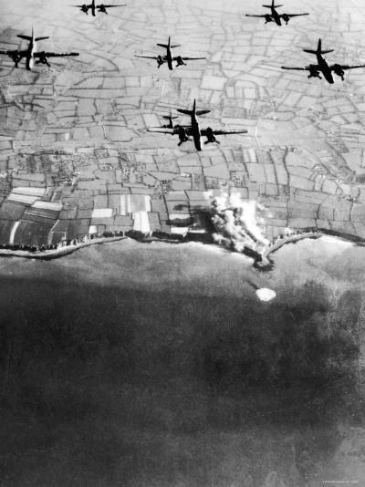 Douglas A-20 Havocs of US 9th Army Air Force Bombing German Coastal Defenses--Photographic Print