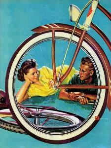 """""""Bicycle Ride,"""" August 16, 1941 by Douglas Crockwell"""