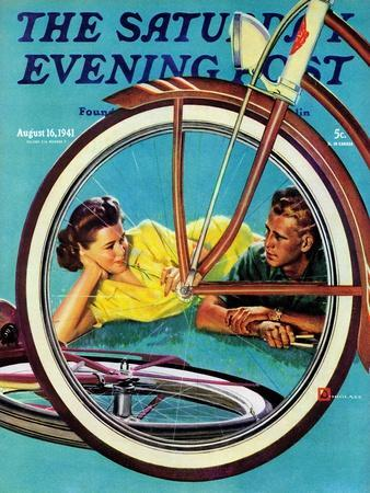 """""""Bicycle Ride,"""" Saturday Evening Post Cover, August 16, 1941"""