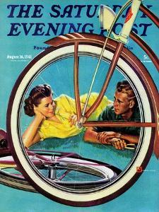 """Bicycle Ride,"" Saturday Evening Post Cover, August 16, 1941 by Douglas Crockwell"
