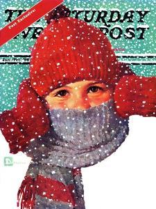 """""""Bundled Up,"""" Saturday Evening Post Cover, Jan/Feb 98 by Douglas Crockwell"""