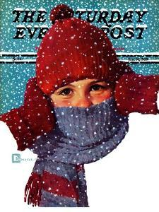 """""""Bundled Up,"""" Saturday Evening Post Cover, January 14, 1939 by Douglas Crockwell"""