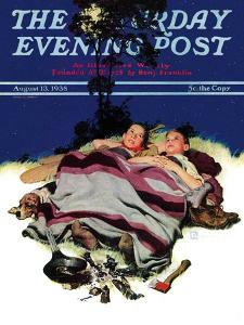 """""""Camping Out,"""" Saturday Evening Post Cover, August 13, 1938 by Douglas Crockwell"""