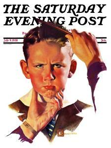 """""""Combing His Hair,"""" Saturday Evening Post Cover, July 9, 1938 by Douglas Crockwell"""