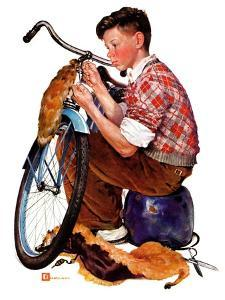"""""""Decorating His Bike,""""March 20, 1937 by Douglas Crockwell"""