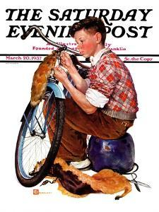 """""""Decorating His Bike,"""" Saturday Evening Post Cover, March 20, 1937 by Douglas Crockwell"""