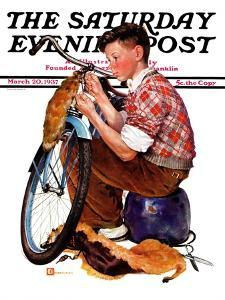 """Decorating His Bike,"" Saturday Evening Post Cover, March 20, 1937 by Douglas Crockwell"