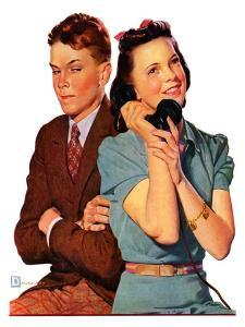 """""""Phone Call from Another Suitor,""""May 27, 1939 by Douglas Crockwell"""