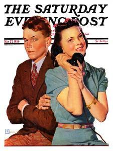 """""""Phone Call from Another Suitor,"""" Saturday Evening Post Cover, May 27, 1939 by Douglas Crockwell"""