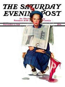"""""""Rainy Football Game,"""" Saturday Evening Post Cover, November 5, 1938 by Douglas Crockwell"""