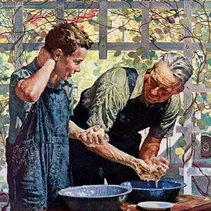 """""""Washing Up for Supper,""""August 1, 1944 by Douglas Crockwell"""