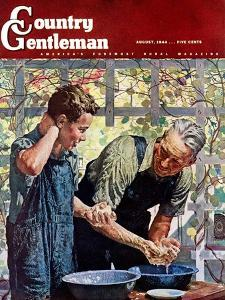 """""""Washing Up for Supper,"""" Country Gentleman Cover, August 1, 1944 by Douglas Crockwell"""