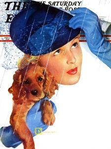 """""""Woman in Rain with Cocker,"""" Saturday Evening Post Cover, April 8, 1939 by Douglas Crockwell"""