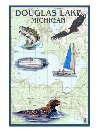 Douglas Lake, Michigan - Nautical Chart-Lantern Press-Art Print