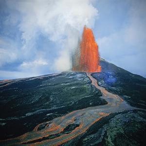 Lava fountain in Pu'u O'o Vent on Kilauea Volcano by Douglas Peebles