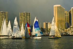 Sailboat Race, Ala Moana Beach Park, Waikiki, Honolulu, Hawaii by Douglas Peebles