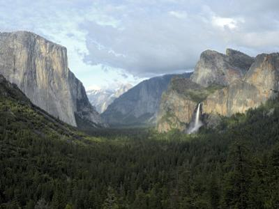 El Capitan (Left), Cloud's Rest in the Clouds, Half Dome and Cathedral Peaks