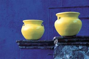 Yellow Pots, Blue Wall by Douglas Steakley