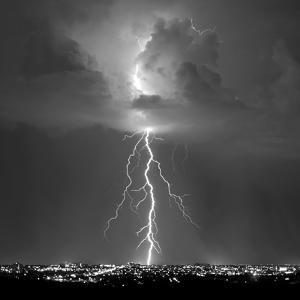 Blue Lightning Sq BW by Douglas Taylor