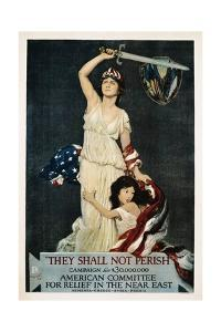 They Shall Not Perish Relief Poster by Douglas Volk