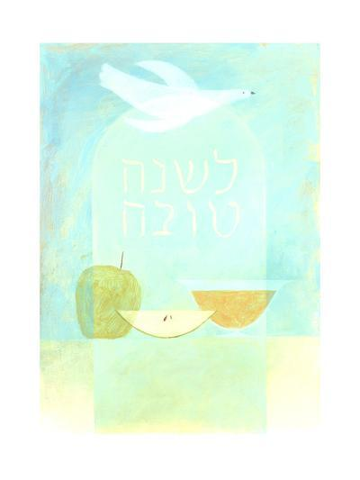 Dove, Fruit, and Hebrew Lettering--Art Print
