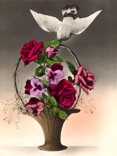 Dove With Bouquet-Found Image Press-Art Print