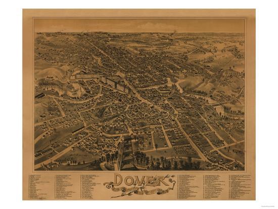 Dover, New Hampshire - Panoramic Map-Lantern Press-Art Print