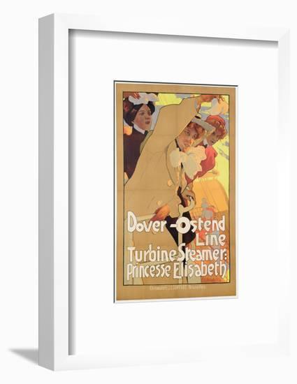 Dover- Ostend Line', Poster Advertising Travel Between England and Belgium on Princesse Elisabeth-Adolfo Hohenstein-Framed Premium Giclee Print