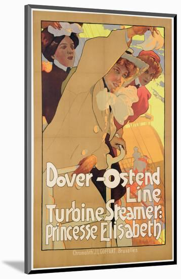 Dover- Ostend Line', Poster Advertising Travel Between England and Belgium on Princesse Elisabeth-Adolfo Hohenstein-Mounted Premium Giclee Print