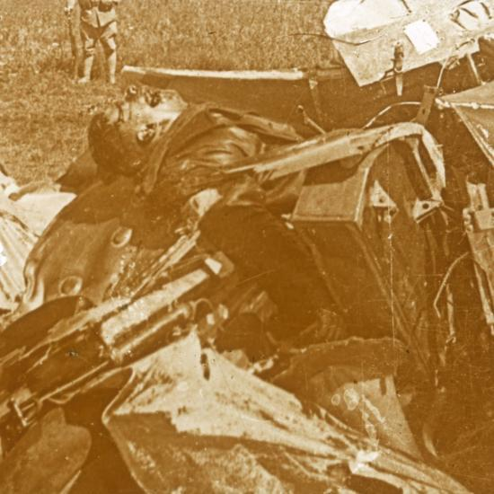 Downed German plane with pilot, c1914-c1918-Unknown-Photographic Print