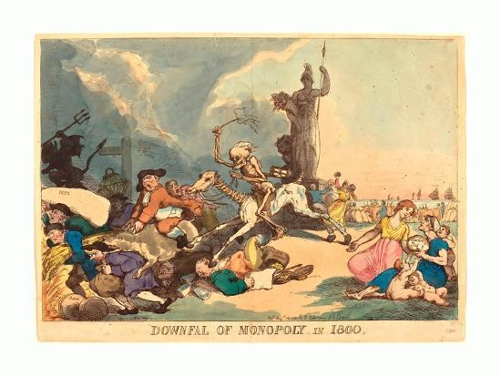 Downfall of Monopoly in 1800, Published 1800, Hand-Colored Etching, Rosenwald Collection-Thomas Rowlandson-Giclee Print