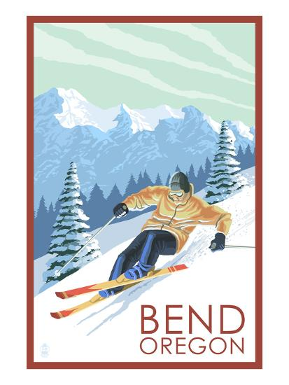 Downhhill Snow Skier - Bend, Oregon-Lantern Press-Art Print