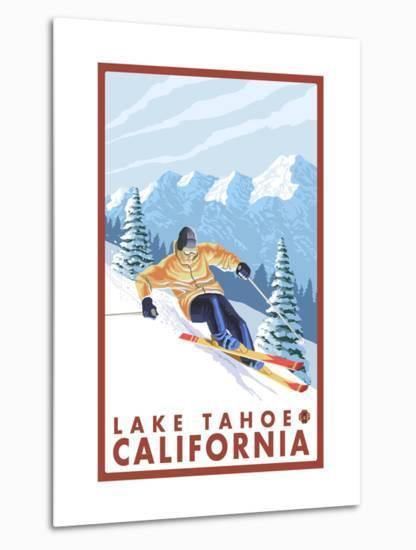 Downhhill Snow Skier, Lake Tahoe, California-Lantern Press-Metal Print