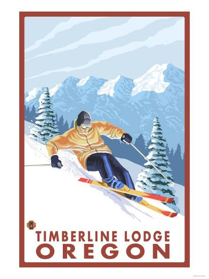Downhhill Snow Skier, Timberline Lodge, Oregon-Lantern Press-Art Print