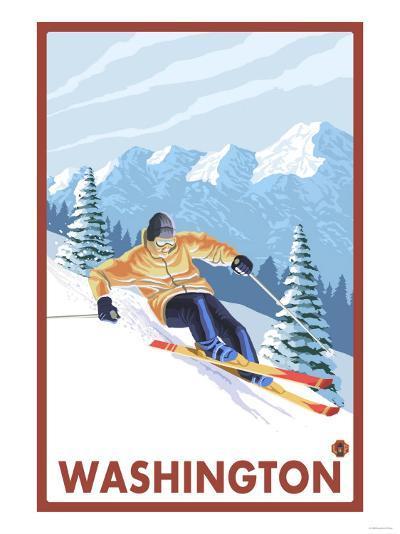 Downhhill Snow Skier, Washington-Lantern Press-Art Print