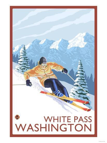 Downhhill Snow Skier, White Pass, Washington-Lantern Press-Art Print
