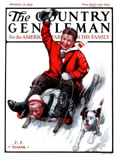 """Downhill on Sled,"" Country Gentleman Cover, January 13, 1923-J^F^ Kernan-Giclee Print"