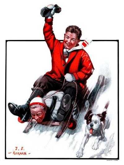 """Downhill on Sled,""January 13, 1923-J^F^ Kernan-Giclee Print"