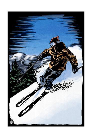 Downhill Skier - Scratchboard-Lantern Press-Art Print