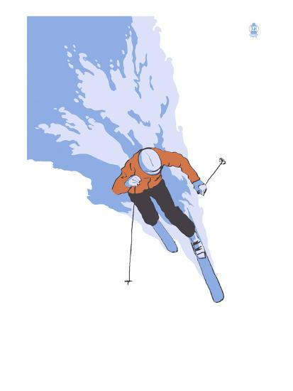 Downhill Skier Stylized - Male-Lantern Press-Art Print