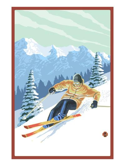 Downhill Skier-Lantern Press-Art Print