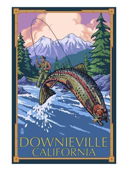 Downieville, California - Fly Fishing-Lantern Press-Art Print